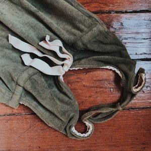 Vintage Olive Green Halter Mini Towel Dress